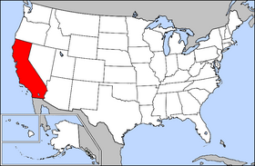 Map of the U.S. with California highlighted