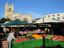 The market in the centre of Cambridge, with Great St Mary's Church in the background