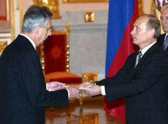 Russian Head of State and President  receives the  from the French ambassador.
