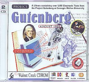 Project Gutenberg's database of e-texts were placed on CD-ROM, like the one shown above.