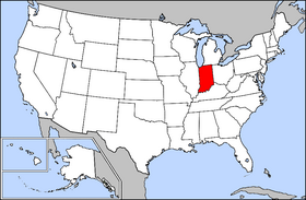 Map of the U.S. with Indiana highlighted