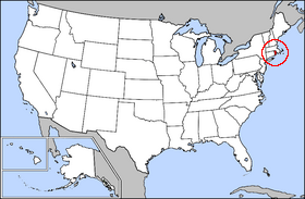 Map of the U.S. with Rhode Island highlighted