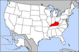 Map of the U.S. with Kentucky highlighted