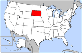 Map of the U.S. with South Dakota highlighted