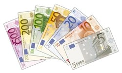Euro banknotes in circulation throughout the twelve countries of the  that form the Eurozone