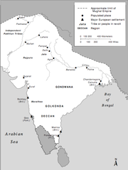 Extent of Empire in the late : the Mughals ruled all but the southern tip of the subcontinent.