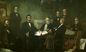 Lincoln met with his Cabinet for the first reading of the  draft on , .