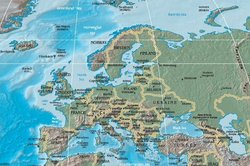 Political and geographic boundaries in Europe do not always match. This physical and political map shows Europe at its furthest extent, reaching to the Urals.