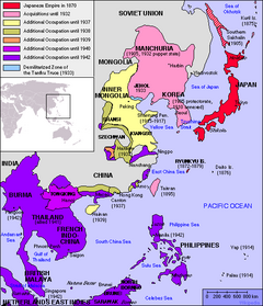 The Empire of Japan encompassed most of East and Southeast Asia at its height in .