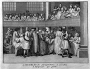 A woman publicly witnessing at a Quaker meeting seemed an extraordinary feature of the , worth recording for a wider public. Engraving by Bernard Picart, ca 1723