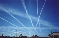Multiple contrails in a high-traffic area