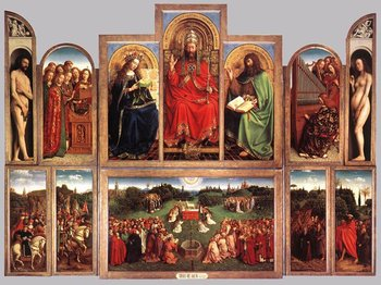 """The Ghent Altarpiece: The Adoration  of the Lamb"" (interior view) painted 1432 by Jan van Eyck."