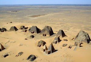 Aerial view of the pyramids at