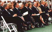 Five  and  attended the funeral of  on , , in Nixon's hometown of , . From left:  and ,  and ,  and , Jimmy and ,  and .