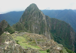 "A view of , ""the Lost City of the Incas,"" now an archaelogical site."