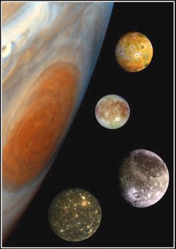 's 4 Galilean moons, in a composite image comparing their sizes and the size of Jupiter ( visible). From the top, they are , , ,