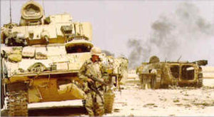 A US Army convoy crosses the Iraqi desert.
