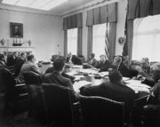Kennedy's Cabinet meets during the Cuban Missile Crisis