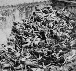 Mass grave at Bergen Belsen concentration camp 1945