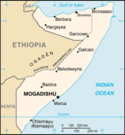 Map of Somalia including the self-proclaimed boundary of Somaliland