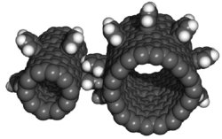 "Nanotechnology develops minute technology; this is a model of ""nanogears"", as small as only a few atoms wide."