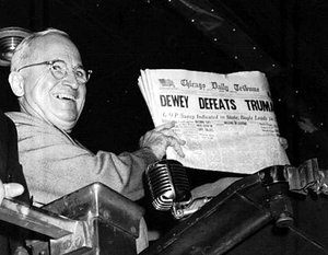 Truman was widely expected to lose the 1948 election, as shown by this mistaken  headline.