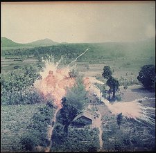 U.S forces bomb NLF positions in 1965.