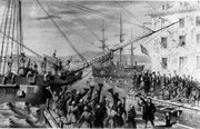 "Destruction of tea at the ""Boston Tea party""."
