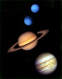 From top: Neptune, Uranus, Saturn, and Jupiter.