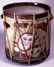 Snare drum, around 1780, reportedly carried by Luther W. Clark at the Battle of Guilford Courthouse