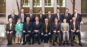 The current (25th) Prime Minister of Australia, John Howard (sitting, fifth from left), with his Cabinet, 1999