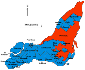 Island of Montreal before the 2002 merger: City of Montreal (186 km²) and 27 independent municipalities