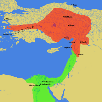 The Hittite Empire at the height of its power (red), bordering on the Egyptian Empire (green)
