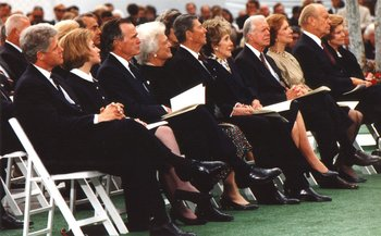 Presidents Bill Clinton, , , , , and their wives at the funeral of President  on April 27, 1994.