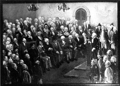 Immanuel Kant, lecturing to Russian officers — by I. Soyockina / V. Gracov, the Kant Museum, Kaliningrad
