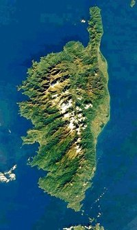 Satellite image of Corsica,  December 7, 2001 (NASA image)