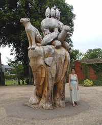 A tree sculpture at Bristol Zoo, Bristol, England. This was sculpted with a chain saw from a standing tree, which was diseased and due to be felled