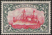 A postage stamp from the , dating back to the time when the islands were ruled by the German Empire. The new Weltpolitik of Kaiser Wilhelm II led to frictions with other imperialist powers.