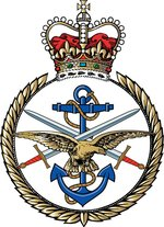 The Tri-service badge of Her Majesty's Armed Forces. The anchor representing the Royal Navy, the crossed swords the Army, and the Eagle the Royal Air Force